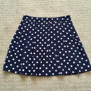 J. Crew pleated navy polka dot skirt